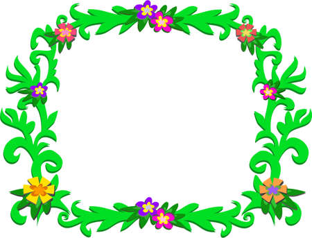 Frame of Green Tropical Vines and Flowers Illustration