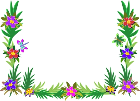 Frame of Tropical Plants, Dragonfly, and Butterfly Ilustração