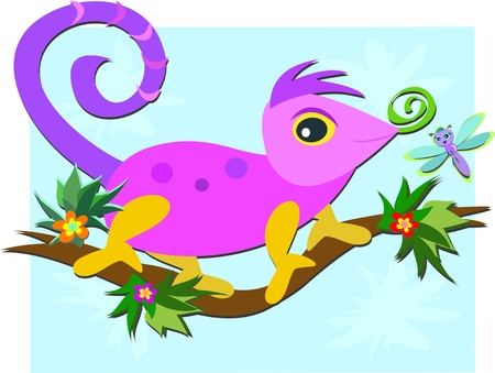 Sweet Chameleon on a Branch Vector