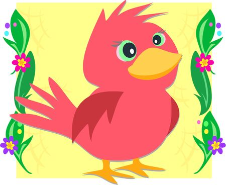Red Bird in Plant Frame Stock Vector - 8816276