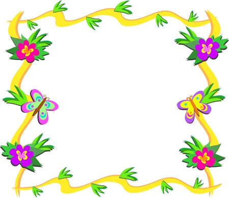 Frame of Tropical Woods, Flowers, and Butterflies