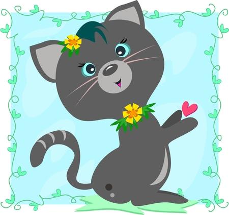 gato gris: Gato gris enmarcada en vides