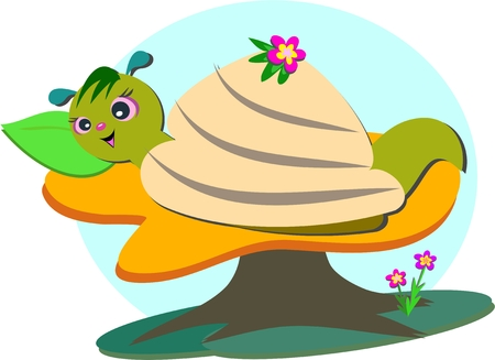 Cute Snail Takes a Nap Vector
