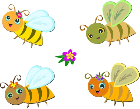 かわいい蜂のミックス グループ