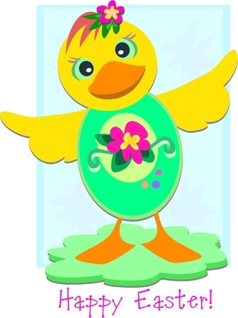 Happy Easter Duck Egg 矢量图像