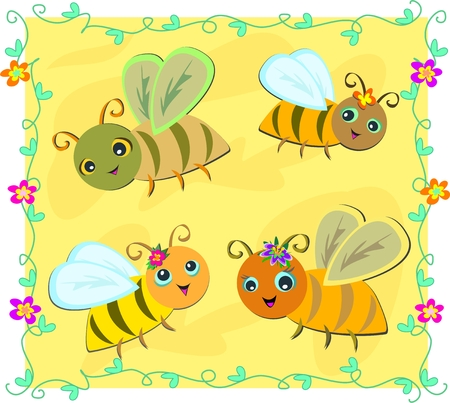 Frame of Bees with Vines and Flowers Vector