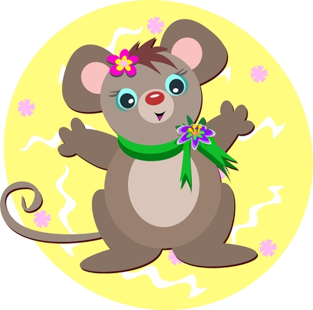Mouse with Green Scarf Vector
