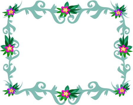 Blue Frame with Flowers