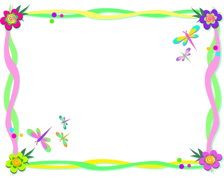 Frame of Ribbons, Spiral Flowers, and Dragonflies