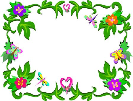 Frame of Tropical Flowers and Hearts Illustration