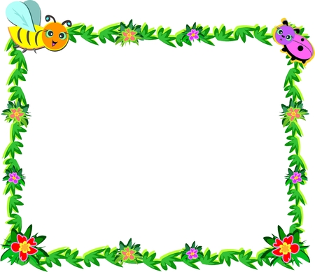 Frame of Bee, Ladybug, Vines, and Flowers Vector