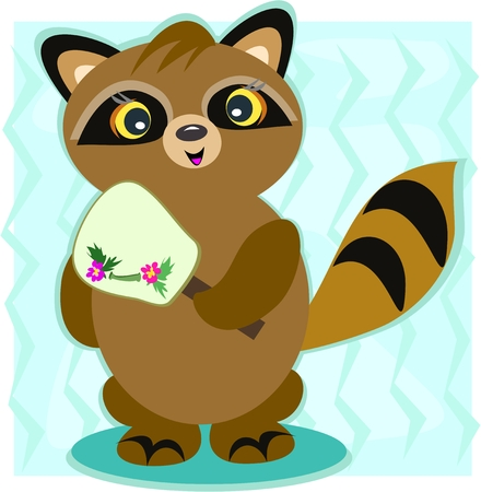 Raccoon with a Japanese Fan Vector