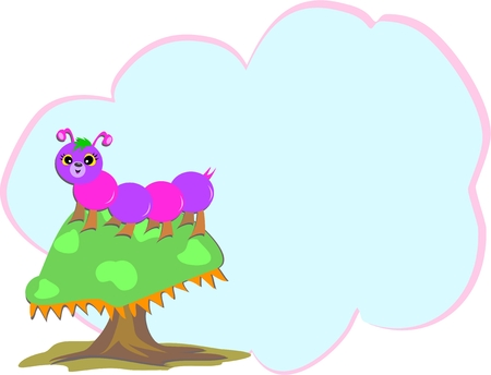 caterpillar on a Mushroom with Message Bubble Vector