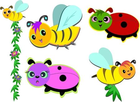 Mix of Bees and Ladybugs Illusztráció