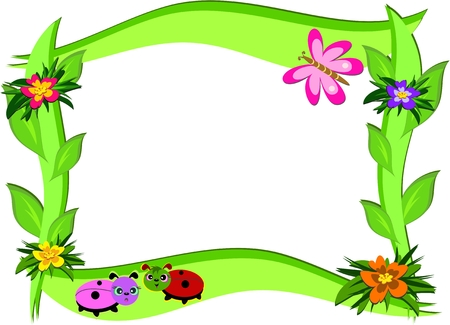 Thick Frame with Flowers and Bugs Vector
