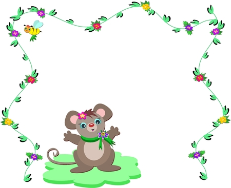 Nature Frame with Cute Mouse Vector