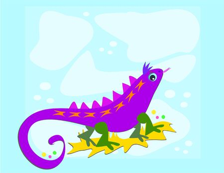 Purple Lizard with Blue Background Illustration
