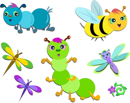 Mix of Cute Insects Stock Illustratie