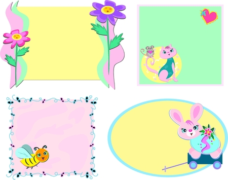 Mix of Frames with Flowers and Animals Vector