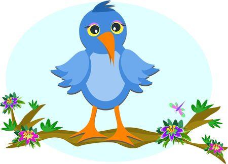 Blue Bird op een tak