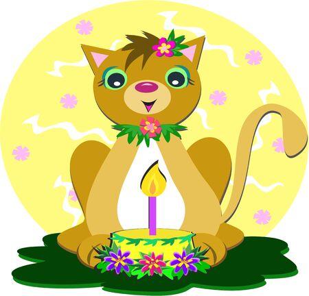 Cat with Birthday Cake