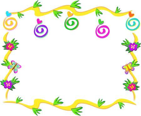 Telaio di spirali, fiori e farfalle Archivio Fotografico - 8987440