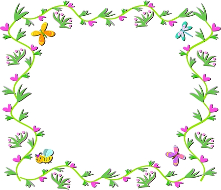 Frame of Vines, Hearts, Plants, Butterflies and Bees Vector