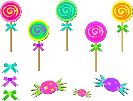 Mix of Candies and Bows Ilustracja