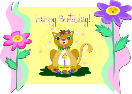 Framed Happy Birthday Greeting with Cat and Flowers