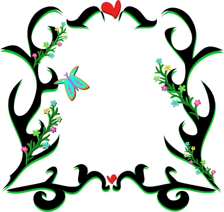 Black Frame and Hearts and Plants Vector