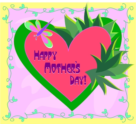 Frame of Mother's Day of Heart and Plants