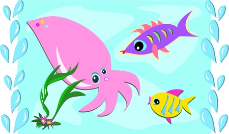 Sea Friends of Squid and Fish Stock Vector - 8987429