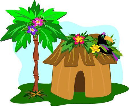熱帯小屋、ヤシの木、オオハシ  イラスト・ベクター素材