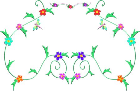 Frame of Delicate Vines, Flowers, and Dragonfly Stock Vector - 9079351