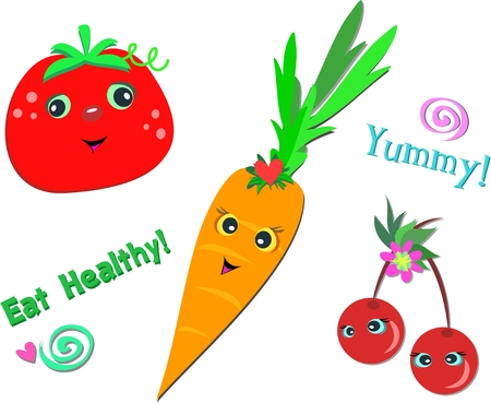 snack: Mix of Healthy Foods Illustration