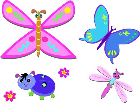 antenna dragonfly: Mix of Joyful Bugs and Flowers Illustration