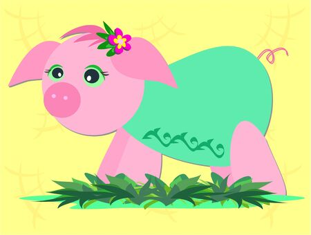 Pink Pig with Green Shirt