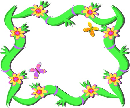 Frame of Plants, Flowers, and Butterflies Иллюстрация