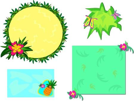 Mix of Tropical Frames and Plants Иллюстрация