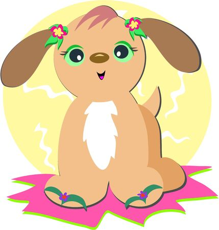 Dog with Flip Flop Sandals Vector