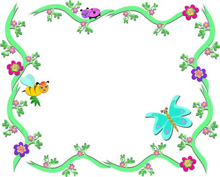 Frame of Plants, Bee, Ladybug, and Butterfly