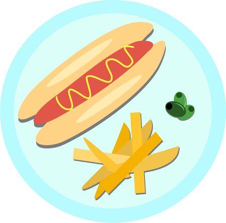 Hot Dog, patatine fritte e olive Archivio Fotografico - 9208478