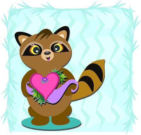 Raccoon with Heart Vector