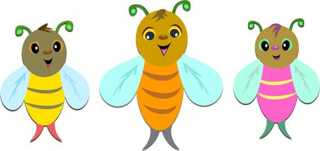Three Bees in Line