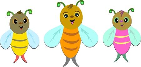 Trois abeilles en ligne Banque d'images - 9241916