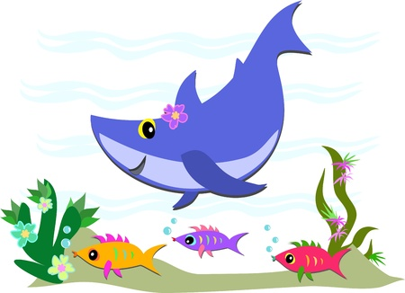 Cute Blue Shark and Fish Friends Vector