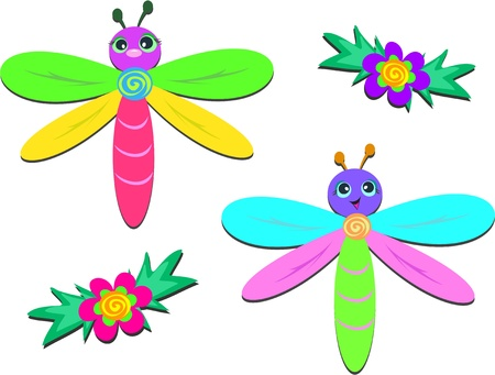Mix of Baby Dragonflies and Flowers