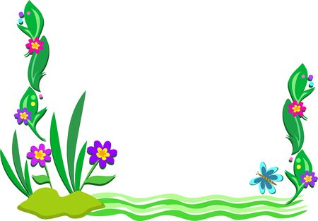 Frame of Outdoor Scene of Plants and Pond Vector