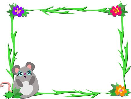 Frame with Mouse and Plants Illustration