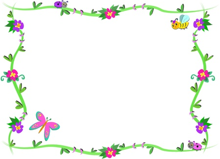 Frame of Plants, Flowers, and cute Bugs